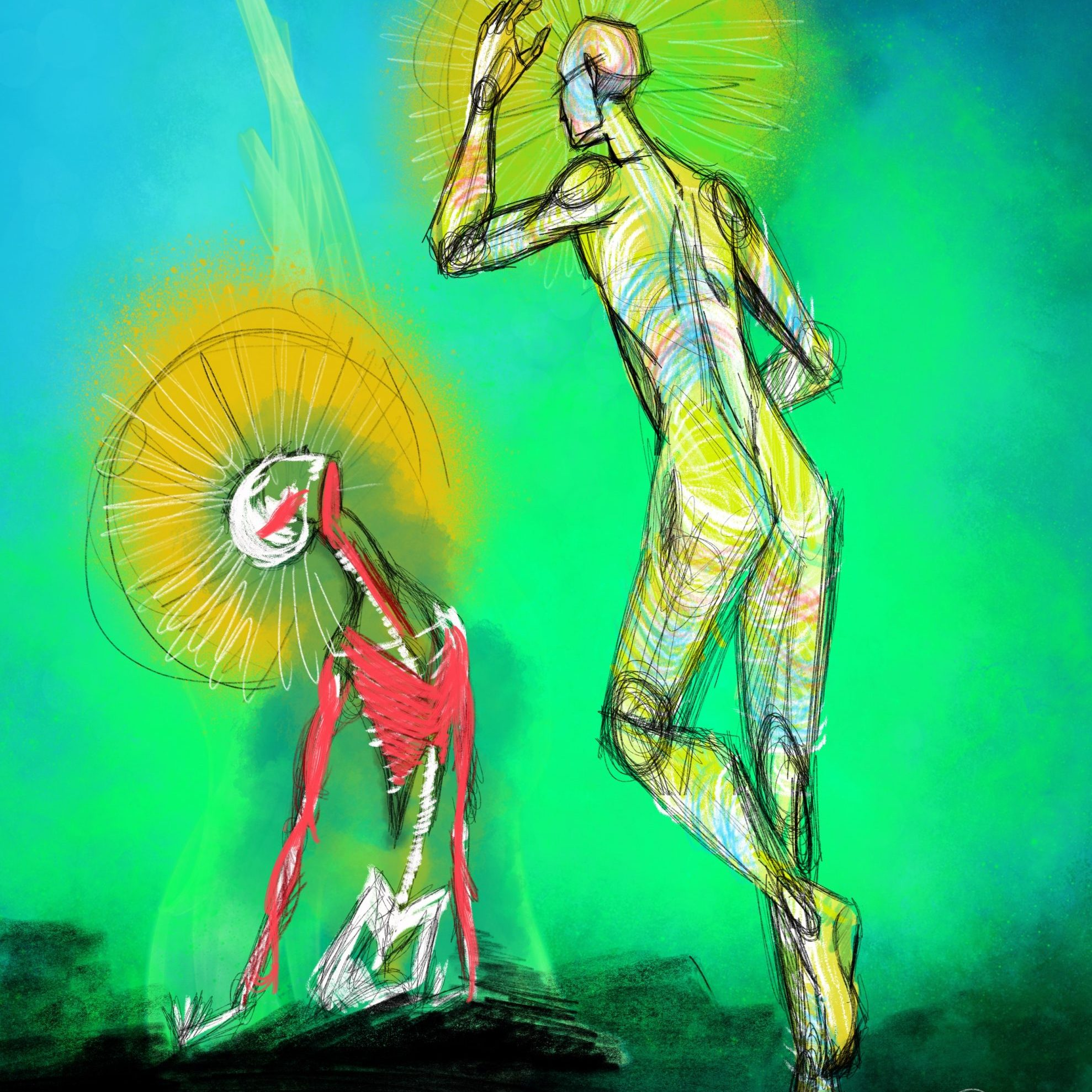 Two figures reaching for one another with saint halos.